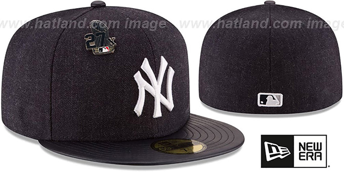Yankees 27X 'HEATHER-PIN' Navy Fitted Hat by New Era : pictured without stickers that these products are shipped with
