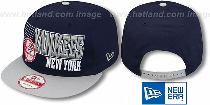 Yankees '2T BORDERLINE SNAPBACK' Navy-Grey Hat by New Era : pictured without stickers that these products are shipped with