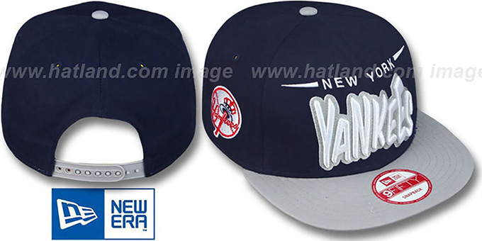 Yankees '2T DOPETASTIC SNAPBACK' Navy-Grey Hat by New Era : pictured without stickers that these products are shipped with