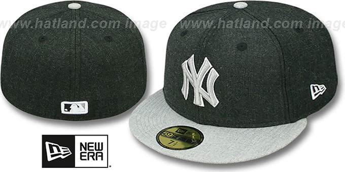 Yankees '2T-HEATHER ACTION' Charcoal-Grey Fitted Hat by New Era : pictured without stickers that these products are shipped with
