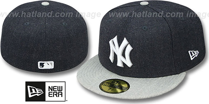 Yankees '2T-HEATHER ACTION' Navy-Grey Fitted Hat by New Era : pictured without stickers that these products are shipped with