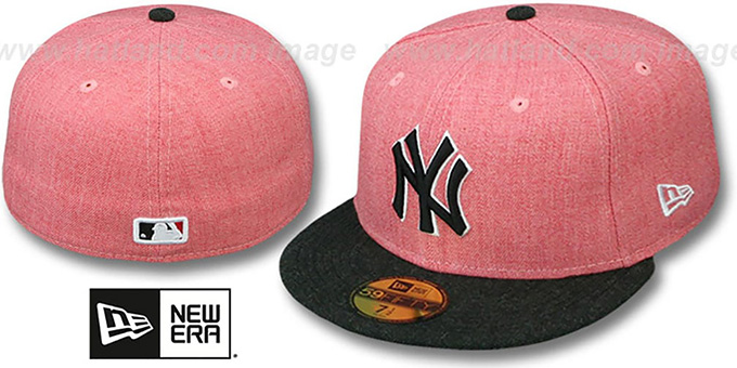 Yankees '2T-HEATHER ACTION' Red-Charcoal Fitted Hat by New Era : pictured without stickers that these products are shipped with