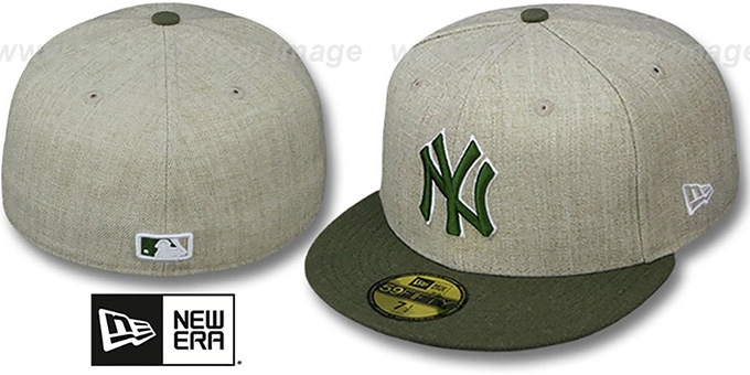 Yankees '2T-HEATHER ACTION' Tan-Olive Fitted Hat by New Era : pictured without stickers that these products are shipped with