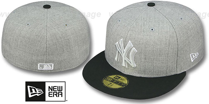 Yankees '2T-HEATHER' Grey-Black Fitted Hat by New Era : pictured without stickers that these products are shipped with