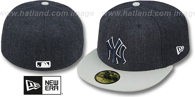 933a6edc New York Yankees 2T-HEATHER Navy-Grey Fitted Hat by New Era