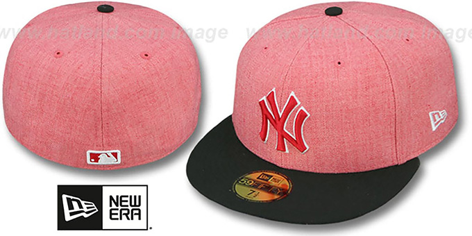 Yankees '2T-HEATHER' Red-Black Fitted Hat by New Era : pictured without stickers that these products are shipped with