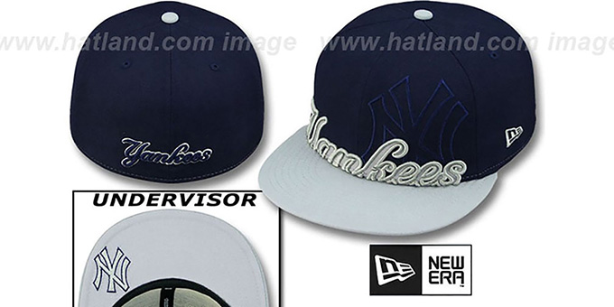 Yankees '2T IN-DA-FACE' Navy-Grey Fitted Hat by New Era : pictured without stickers that these products are shipped with