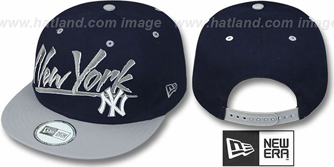 Yankees '2T MLB RETRO-WORD SNAPBACK' Navy-Grey Adjustable Hat by New Era : pictured without stickers that these products are shipped with