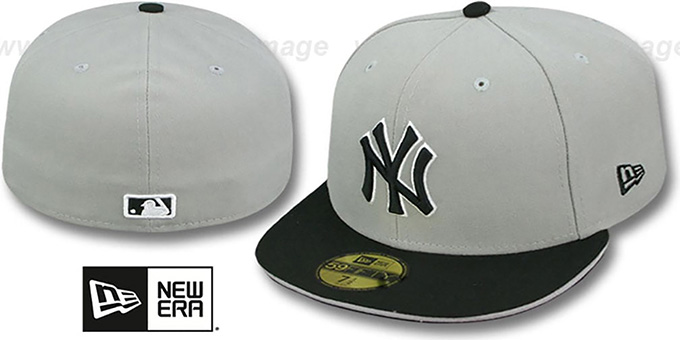 Yankees '2T SPLIT TEAM-BASIC' Grey-Black Fitted Hat by New Era : pictured without stickers that these products are shipped with