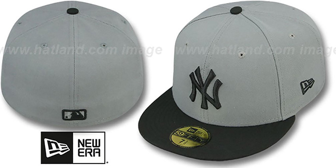 Yankees '2T TEAM-BASIC' Grey-Black Fitted Hat by New Era : pictured without stickers that these products are shipped with