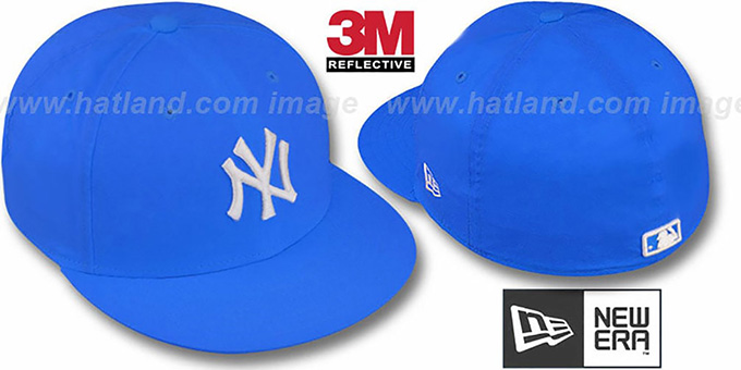Yankees '3M REFLECTIVE' Blue Fitted Hat by New Era : pictured without stickers that these products are shipped with