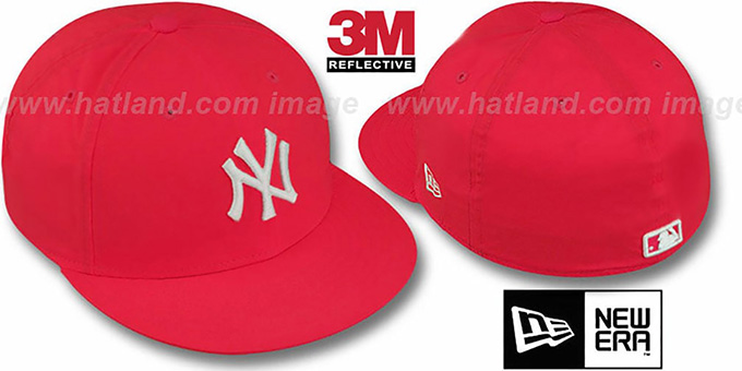 Yankees '3M REFLECTIVE' Red Fitted Hat by New Era : pictured without stickers that these products are shipped with