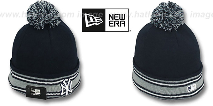 Yankees 'AC-ONFIELD' Navy Knit Beanie Hat by New Era : pictured without stickers that these products are shipped with