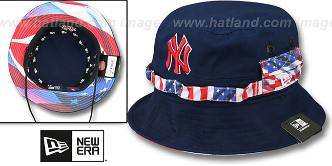Yankees 'ADVENTURE FLAG' Navy Bucket Hat by New Era : pictured without stickers that these products are shipped with
