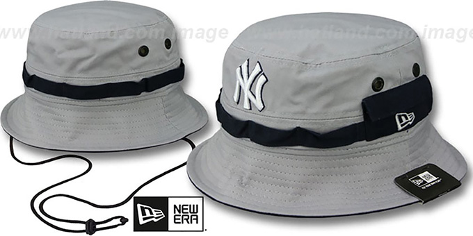Yankees 'ADVENTURE' Grey Bucket Hat by New Era : pictured without stickers that these products are shipped with