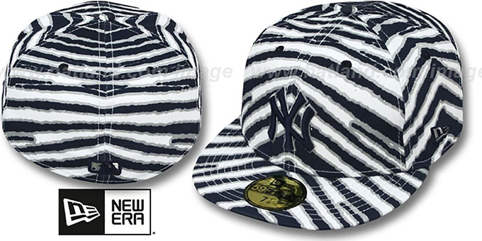 Yankees 'ALL-OVER ZUBAZ' Fitted Hat by New Era : pictured without stickers that these products are shipped with