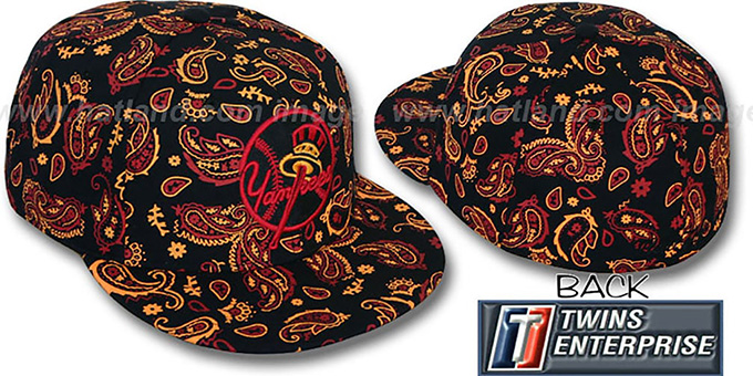 Yankees ALT COOP 'BANDANA' Black-Red-Citrus Fitted Hat by Twins : pictured without stickers that these products are shipped with