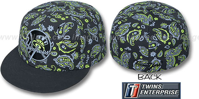 Yankees ALT COOP 'BANDANA' Grey-Lime Fitted Hat by Twins : pictured without stickers that these products are shipped with