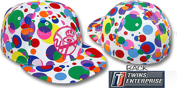 Yankees ALT 'GUMBALL' White-Multi Fitted Hat by Twins : pictured without stickers that these products are shipped with