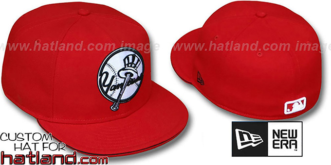 Yankees ALTERNATE 'BIG-ONE' Red-Black Fitted Hat by New Era : pictured without stickers that these products are shipped with