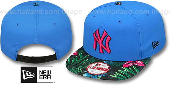 Yankees 'AMAZON BLOOM SNAPBACK' Blue-Multi Hat by New Era : pictured without stickers that these products are shipped with