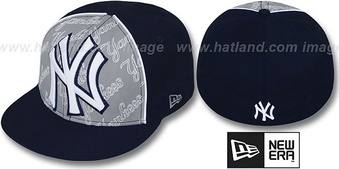 Yankees 'ANGLEBAR' Navy-Grey Fitted Hat by New Era : pictured without stickers that these products are shipped with