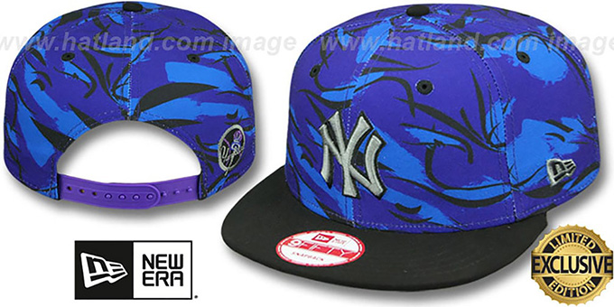 Yankees 'AQUA HOOK SNAPBACK' Multi-Black Hat by New Era : pictured without stickers that these products are shipped with