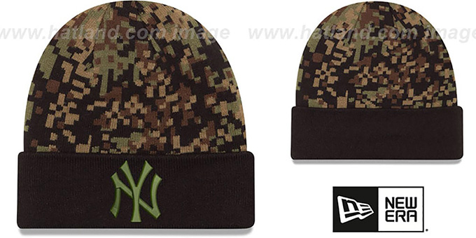 Yankees 'ARMY CAMO PRINT-PLAY' Knit Beanie Hat by New Era : pictured without stickers that these products are shipped with