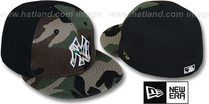 Yankees 'ARMY CAMO THERMAL PW' Army-Black Fitted Hat by New Era : pictured without stickers that these products are shipped with
