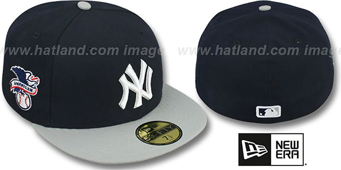 Yankees 'BAYCIK' Navy-Grey Fitted Hat by New Era : pictured without stickers that these products are shipped with