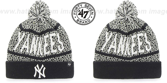 Yankees 'BEDROCK' Black-Grey Knit Beanie Hat by Twins 47 Brand : pictured without stickers that these products are shipped with