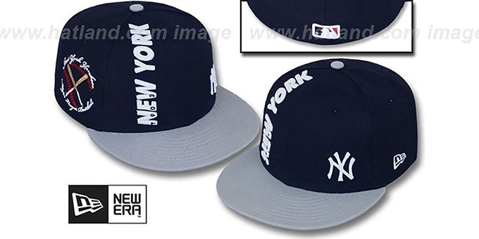 Yankees 'BEELINE' Navy-Grey Fitted Hat by New Era : pictured without stickers that these products are shipped with