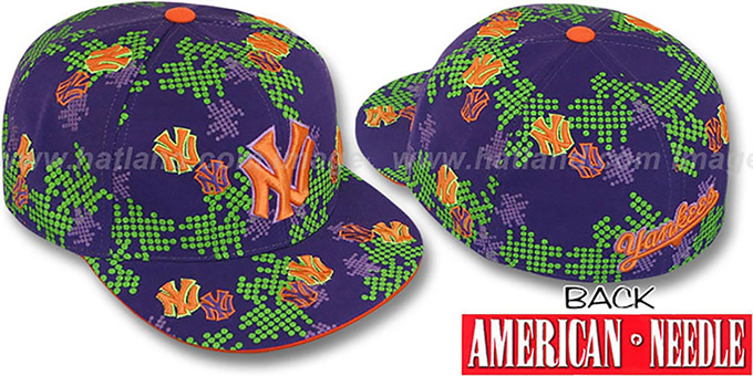 Yankees 'BENDAY DOT ALL-OVER' Purple Fitted Hat by American Needle : pictured without stickers that these products are shipped with
