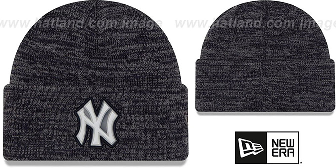 Yankees 'BEVEL' Navy-Grey Knit Beanie Hat by New Era : pictured without stickers that these products are shipped with