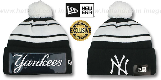 Yankees 'BIG-SCREEN' Black-White Knit Beanie Hat by New Era : pictured without stickers that these products are shipped with