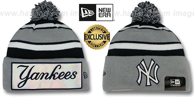 Yankees 'BIG-SCREEN' Grey-Navy Knit Beanie Hat by New Era : pictured without stickers that these products are shipped with