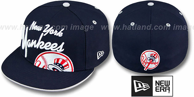 Yankees 'BIG-SCRIPT' Navy Fitted Hat by New Era : pictured without stickers that these products are shipped with