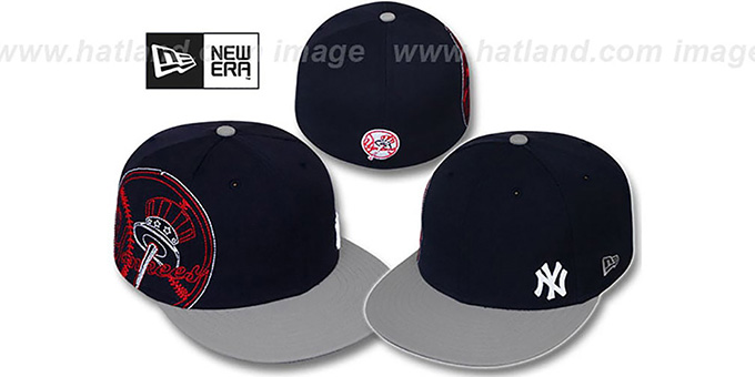 Yankees 'BIG-STITCH' Navy-Grey Fitted Hat by New Era : pictured without stickers that these products are shipped with