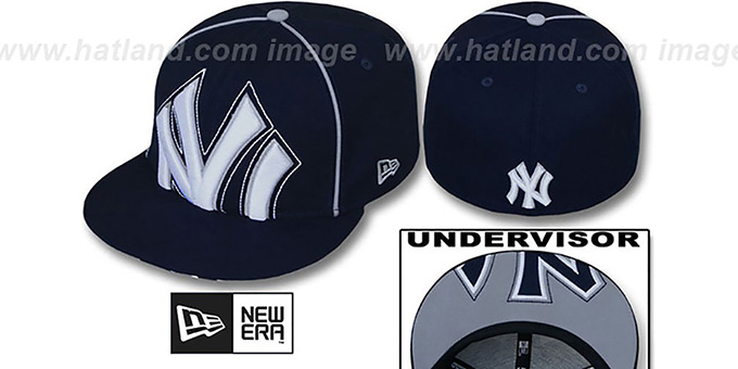Yankees 'BIG-UNDER' Navy Fitted Hat by New Era : pictured without stickers that these products are shipped with
