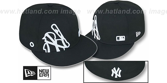 Yankees 'BIGGY FLAW MLB INSIDER' Black Fitted Hat by New Era : pictured without stickers that these products are shipped with