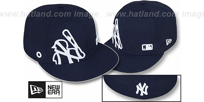 Yankees 'BIGGY FLAW MLB INSIDER' Navy Fitted Hat by New Era : pictured without stickers that these products are shipped with