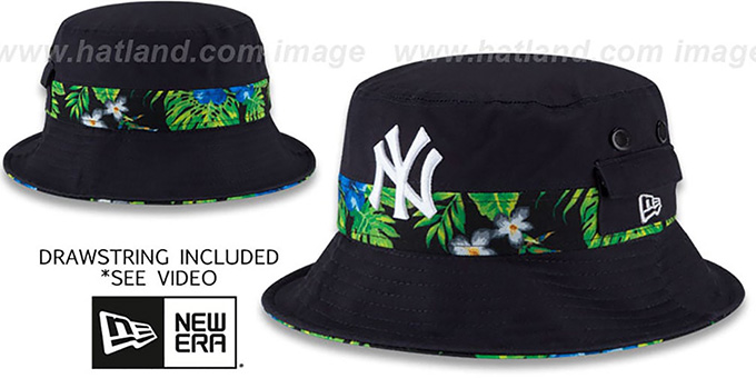 Yankees 'BLOOM SUB-BANDED' Navy Bucket Hat by New Era : pictured without stickers that these products are shipped with