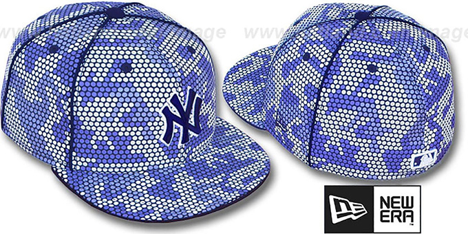 Yankees 'BLUE DOT-CAMO' Fitted Hat by New Era : pictured without stickers that these products are shipped with