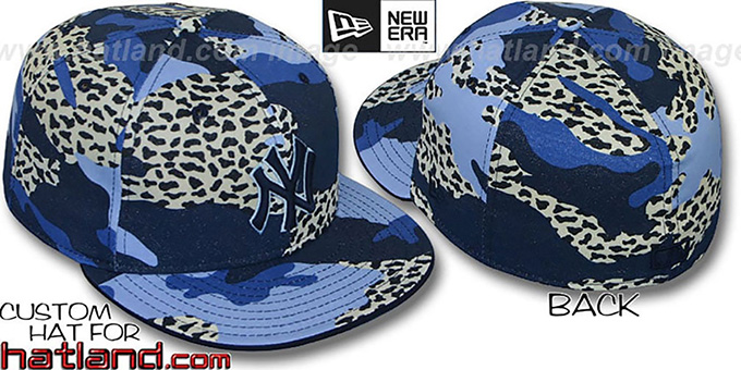 Yankees 'BLUE LEOPARD CAMO' Fitted Hat by New Era : pictured without stickers that these products are shipped with
