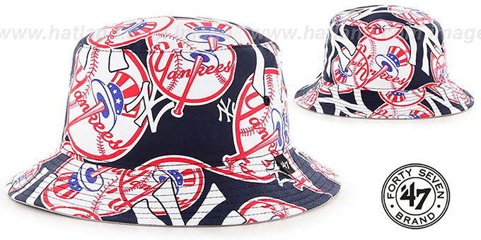 Yankees 'BRAVADO BUCKET' Hat by Twins 47 Brand : pictured without stickers that these products are shipped with