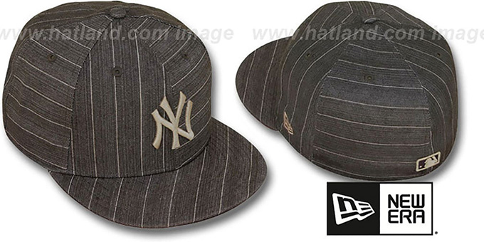 Yankees 'BROWN DENIM STRIPE' Fitted Hat by New Era : pictured without stickers that these products are shipped with