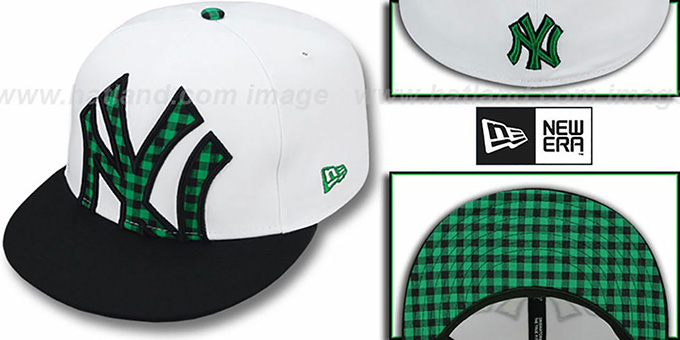Yankees 'BUFFALO GINGHAM INSIDER' Green Fitted Hat by New Era : pictured without stickers that these products are shipped with