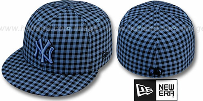 Yankees 'BUFFALO GINGHAM' Sky-Black Fitted Hat by New Era : pictured without stickers that these products are shipped with