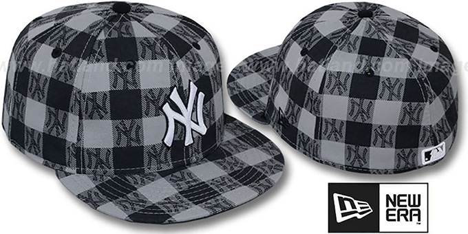Yankees 'BUFFALO PLAID' Grey-Navy Fitted Hat by New Era : pictured without stickers that these products are shipped with