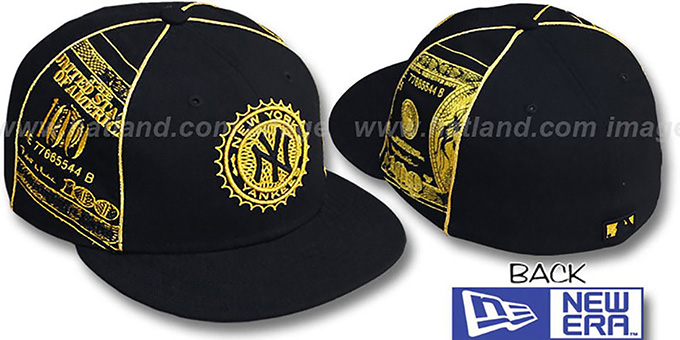Yankees 'C-NOTE' Black-Gold Fitted Hat by New Era : pictured without stickers that these products are shipped with
